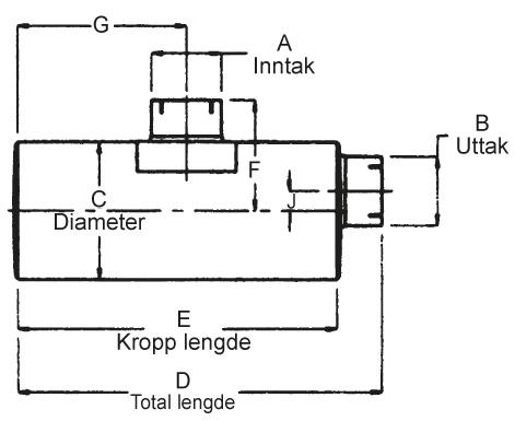 """Lyddemper - 3"""" (76,2 mm) inntak/uttak - Diameter: 8,5"""" - Kropp: 27"""" - Tot.lengde: 29,5"""" 11"""