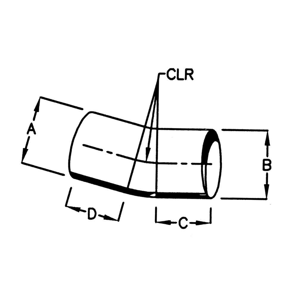 Bend 15 grader - 4'' (10,1 cm) utv./utv. diameter - Benlengde: 10,1 cm 2