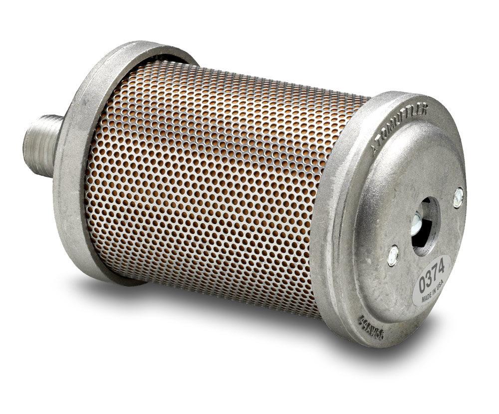 """Damper Muffler - 3/8"""" (9,5 mm.) BSPT hanngjenger  - Diameter: 6,6 cm. - Lengde: 13 cm - Type: D00 1"""