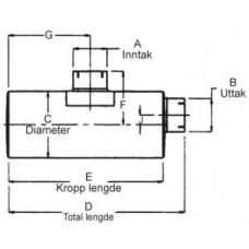 """Lyddemper - 4"""" 101,6 mm inntak/uttak - Diameter: 8 x 10'' - Kropp: 26,5"""" - Tot.lengde: 30"""" 13"""