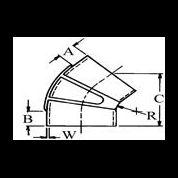 """10"""" (254 mm.) innv. diam. - 45 grader gummibend våt eksos 1"""