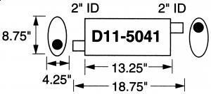 """Stormer Effektlyddemper 2"""" (5,08 cm) rørdiam. - 1 stk.inntak/1 stk.uttak - Total lengde: 47,6 cm. 1"""