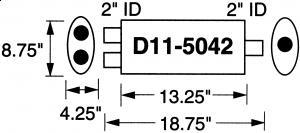 """2"""" 5,08 cm innv.rørdiam. - 1 stk.inntak/1 stk.uttak - Total lengde: 47,6 cm. 3"""