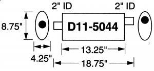 """Stormer Effektlyddemper 2"""" (5,08 cm) rørdiam. - 1 stk.inntak/1 stk.uttak - Total lengde: 47,6 cm. 3"""