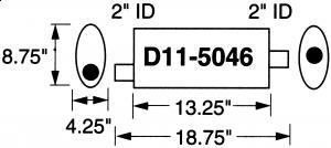 """Stormer Effektlyddemper 2"""" (5,08 cm) rørdiam. - 1 stk.inntak/1 stk.uttak - Total lengde: 47,6 cm. 5"""