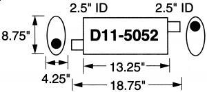 """Stormer Effektlyddemper 2,5"""" (6,35 cm) rørdiam. - 1 stk.inntak/1 stk.uttak - Total lengde: 47,6 cm. 9"""
