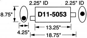 """Stormer Effektlyddemper 2,25"""" (5,71 cm) rørdiam. - 1 stk.inntak/1 stk.uttak - Total lengde: 47,6 cm. 11"""