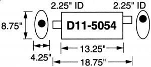 """2,25"""" / 5,71 cm innv.rørdiam. - 1 stk.inntak/1 stk.uttak - Total lengde: 47,6 cm. 13"""