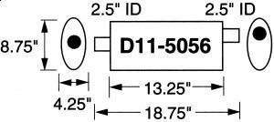 """Stormer Effektlyddemper 2,5"""" (6,35 cm) rørdiam. - 1 stk.inntak/1 stk.uttak - Total lengde: 47,6 cm. 17"""