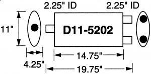 """Stormer Effektlyddemper 2,25"""" (5,71 cm) rørdiam. - 1 stk.inntak/2.stk.uttak - Total lengde: 50,1 cm. 23"""