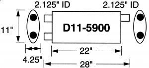 """Stormer Effektlyddemper 2,125"""" (5,4 cm) rørdiam. - 2 stk.inntak/2 stk.uttak - Total lengde: 71 cm 21"""