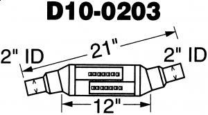 """2"""" utv.inn/uttak - Diameter: 4"""" - Kropp: 12"""" - Total lengde: 21"""" 17"""