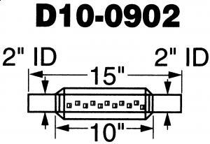 """2""""utv. inn/uttak - Diameter: 3"""" - Kropp: 10"""" - Total lengde: 15"""" 23"""