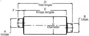 """Lyddemper - 2"""" (50,8 mm) inntak/uttak - Diameter: 6"""" - Kropp: 26 1/2"""" - Tot.lengde: 34"""" 11"""