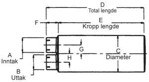"""Lyddemper - 4"""" (101,6 mm) inntak/uttak - Diameter: 10"""" x 15"""" - Kropp: 36"""" - Tot.lengde: 39 1/2"""" 9"""