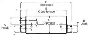 "Lyddemper - Inntak: 3""(76,2 mm)/Uttak: 3,5""(88,9mm) - Diam.8,25""x11,5"" - Kropp:36"" - Tot.lengde:43"" 7"