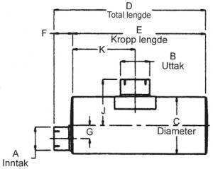 "Lyddemper - Inntak: 5"" (127 mm) - Diameter: 10"" x 15"" - Kropp: 44"" - Tot.lengde: 47,5"" 21"