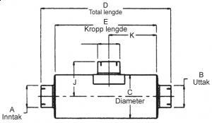 """Lyddemper - Inntak: 3"""" (88,9 mm)/Uttak: 4"""" (101,6 mm) - Diameter: 7"""" - Kropp: 15"""" - Tot.lengde: 18,5"""" 1"""