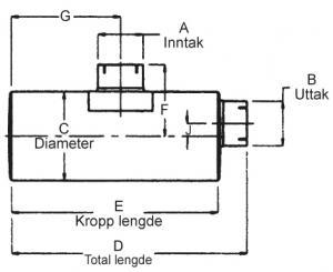 "Lyddemper - Inntak: 5"" (127 mm) - Diameter: 10"" - Kropp: 44"" - Tot.lengde: 48"" 23"