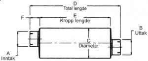 """Lyddemper - 2,75"""" (69,8 mm.) inntak/uttak - Diameter: 8,5"""" - Kropp: 20"""" - Tot.lengde: 26"""" 21"""
