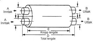 "Lyddemper - Inntak:2,75"" (69,8 mm)/Uttak:2,25"" (57,1 mm) - Diam: 4,5""x11"" - Kropp:22"" - Tot.lengde:28"" 1"