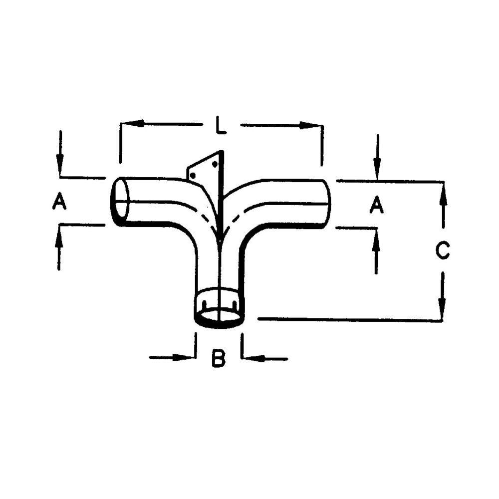 Chrome Y-bend med støttebrakett - 5'' (12,7 cm) inntak/uttak 2