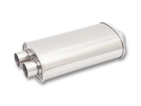 """Vibrant rustfri effektlyddemper 1 stk. 3"""" (76,2 mm) inn, 2 stk. 2,5"""" (63,5 mm) ut, diam: 13 x 23 cm, lengde: 38 cm 1"""