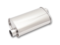 """Vibrant rustfri effektlyddemper 3"""" (76,2 mm) inn-og uttak, diam: 13 x 23 cm, lengde: 38 cm 11"""